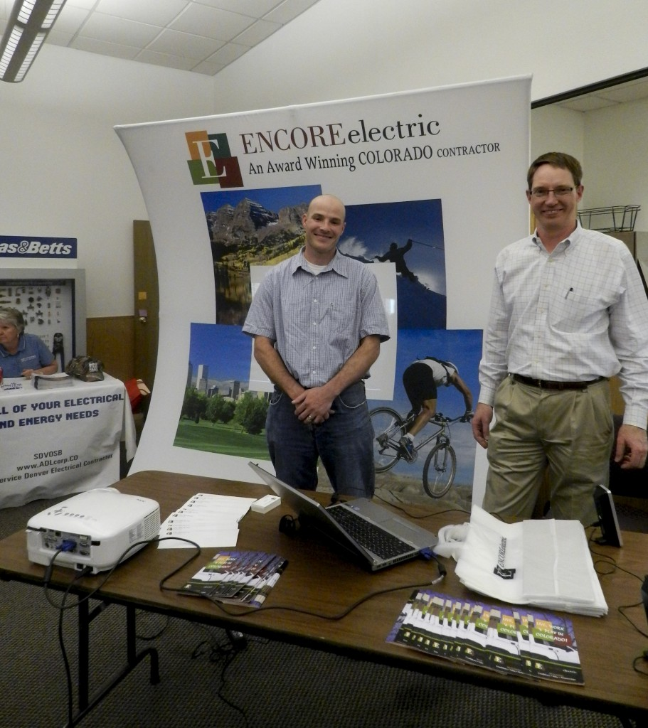 A photo from the 2013 Energy Industry Job Fair (Pictured: Nick Lombardi and David Scott from Encore Electric, Inc.)