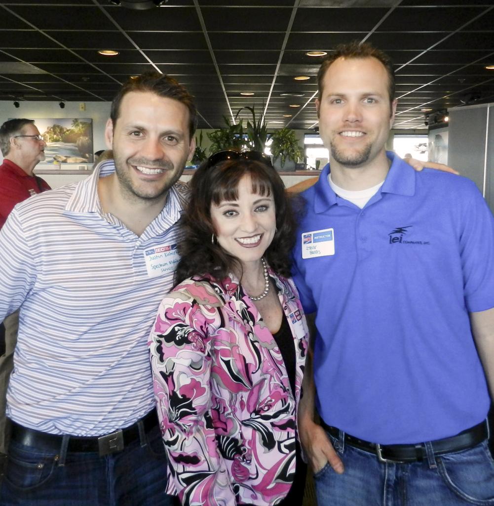 Justin Kubicek of Spectrum Mobile Services; Laura Heon of Panduit; IECRM Instructor Steve Breeds